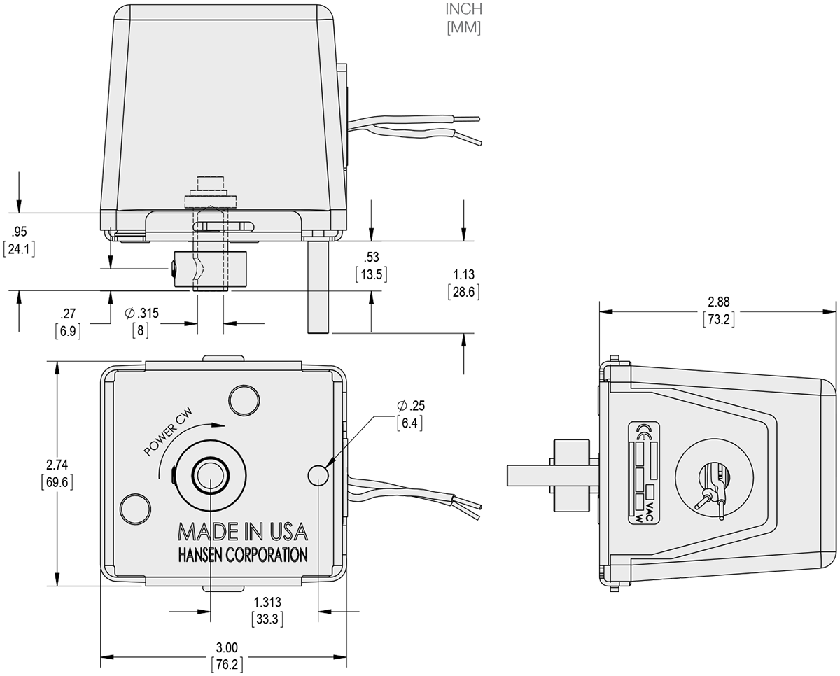 Series 135-6 - Spring Return Actuator Technical Drawings