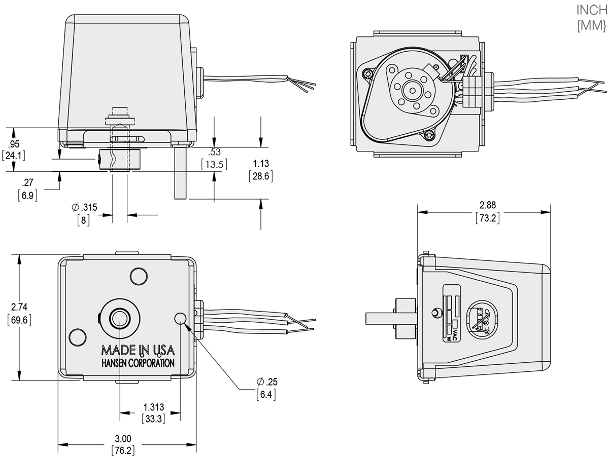 Series 135-7 - POPC (Power Open/Power Close) Actuator Technical Drawings