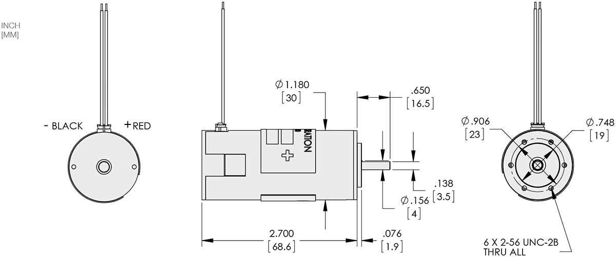 Series 111-2 - 1.1 inch 30mm PMDC Brush Motor Technical Drawings