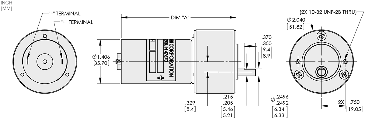 Series 114-4 - 1.4 inch DC Gear Motors Technical Drawings