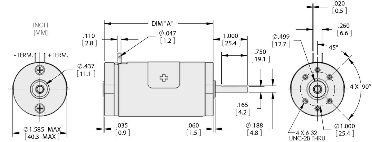 Series 116-1 - 1.6 inch DC Motors Technical Drawings