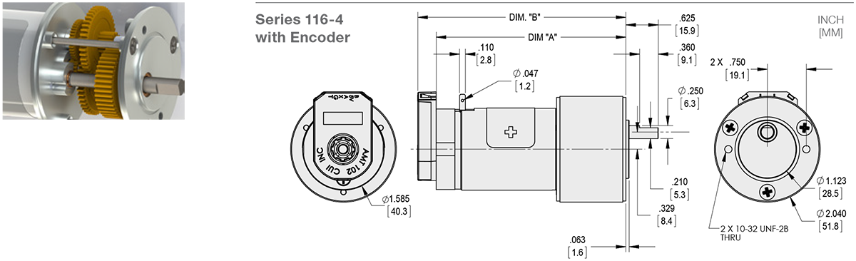Series 116-4 - 1.6 inch DC Spur Gear Motor Standard Options