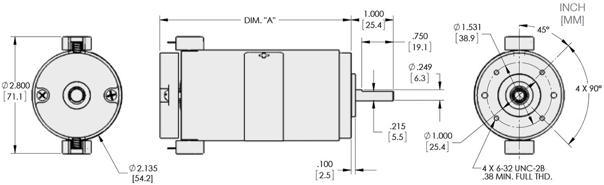 Series 121-1 - 2.1 inch DC Motor Technical Drawings