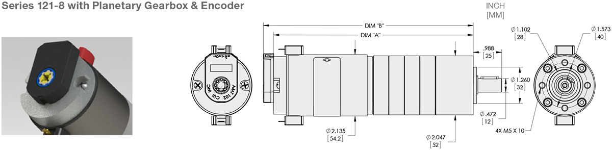 Series 121-8 - 2.1 inch DC Planetary Gear Motor (Metal) Standard Options
